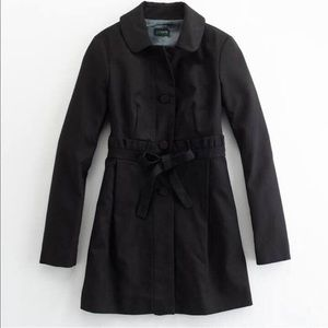 J.Crew ruffled black fall/winter classic coat